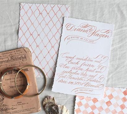 Apricot wedding invitation