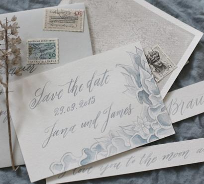 Mallorca wedding calligraphy invitation