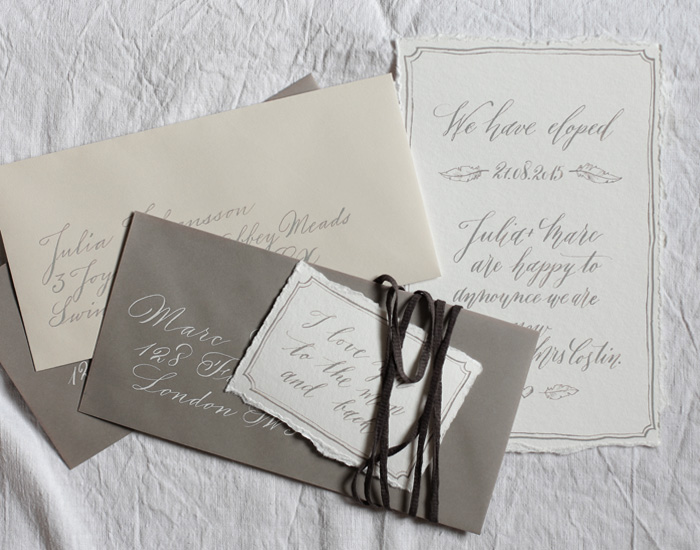 Modern calligraphy elopement invitation nicnillas ink