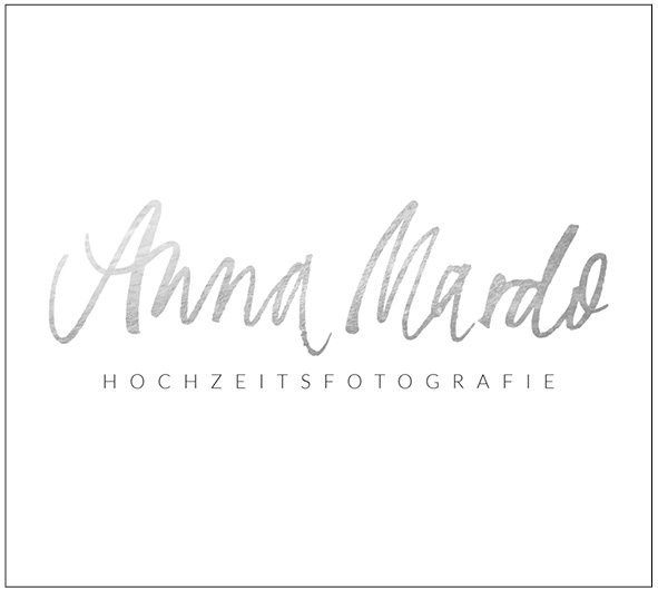 a new custom hand lettered logo in silver for Anna Mardo