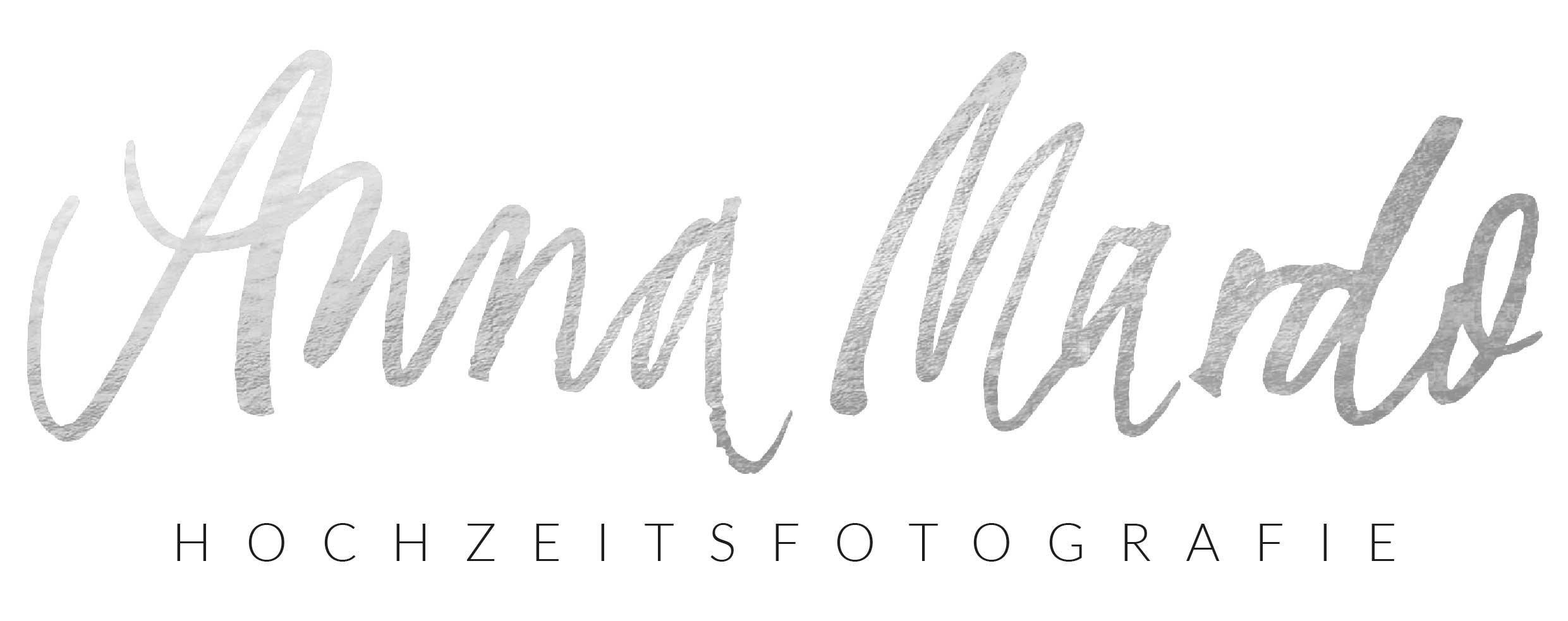 a new custom hand lettered logo in silver for Anna Mardo Fotografie